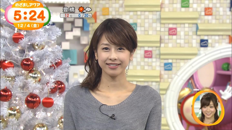 加藤綾子アナのニットワンピ着衣おっぱいエロキャプ画像2