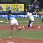 稲村亜美ちゃんのお尻wwwショートパンツがワレメがっつり食い込んだ始球式www