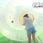 佐藤美希ちゃんのプールレポがエロいw胸チラおっぱいに太ももがエッチなめざましテレビキャプ