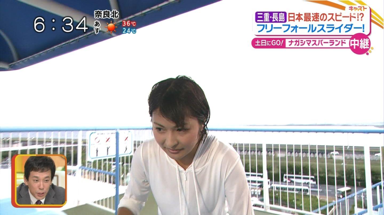 川添佳穂さんがビショ濡れのスケスケwおっぱいも強調されまくりなキャストエロキャプ画像