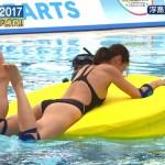 原幹恵さんのお尻がピンチwww背中側の布の面積がちっさい競泳水着で挑んだロンハー水泳2017www