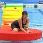 稲村亜美さんの豊満ボディwwおっぱいも気になるけどこのタイプの水着の股間が妙にスケベなロンハー水泳2017