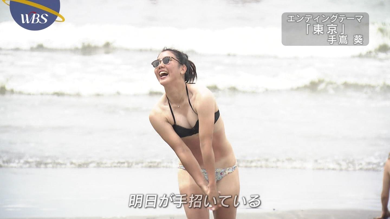 暑さと海とナイトプールのおかげでテレビにおぱーいがあふれる!!ビキニ女子のエロガン見キャプ画像
