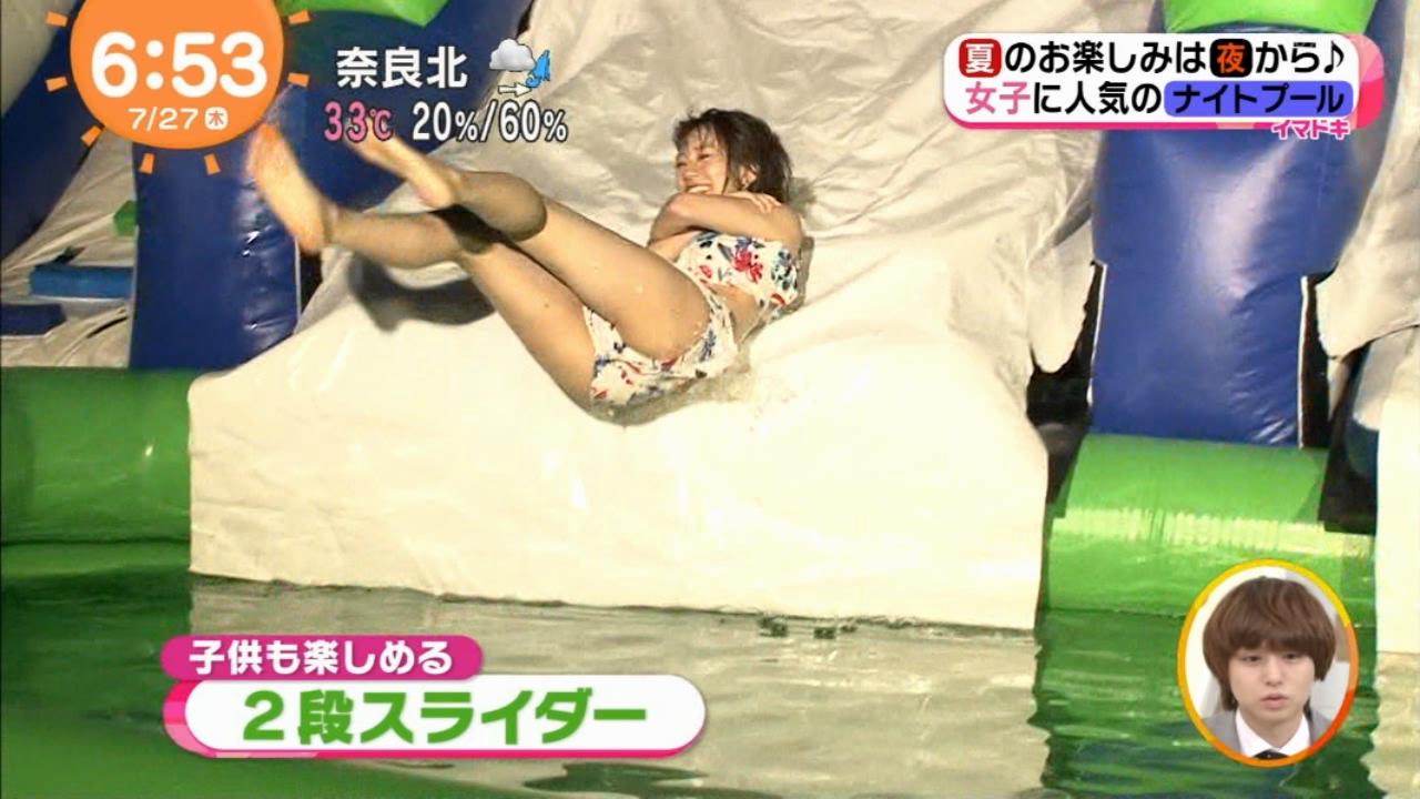 【ハプニング画像】おヒップが飛んだ★佐藤美希さんの艶っぽいナイトプールレポートがたまんないめざましテレビ★★★