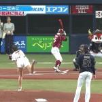 稲村亜美さんのむっちり太ももとビシっと引き締まったお尻w始球式最大の見所はこの後姿かもwww