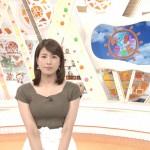 永島優美さんのパンパンなおっぱいw自分で寄せ乳状態も作っちゃって大きな膨らみアピールなめざましテレビwww