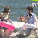 【画像】日本テレビさん、ゲリラ豪雨を理由に女子のエチエチな水着姿を放送しまくる😍😍😍