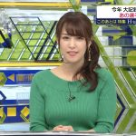 【画像】SPORTSウォッチャーの鷲見玲奈さん、緑のお胸がバイヤヤヤイーンで極上のニットおっぱい😍