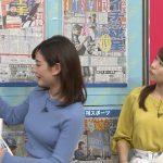 【画像】TBS「はやドキ!」出演のフリーアナ・中西悠理さんのサイズ感エチエチ早朝ニットおっぱい😍