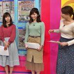 【画像】TBS「はやドキ!」樺島彩さんの手でピタっと抑えたくなるタイプのピッタリフィットなニットおっぱい😍