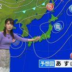 【画像】気象予報士・久保井朝美さんのパープル着衣おっぱいがパンパンでエチエチ???