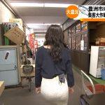 【画像】TBS「Nスタ」伊東楓さんのタイトスカートお尻がパツパツエチエチな築地場外市場レポート😍